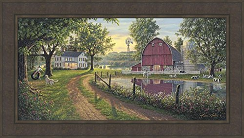 The Road Home by Kim Norlien 24x42 Farm House Red Barn Windmill Silo Cows Pond Dog Country Framed Art Print - Frames Road Glasses Country