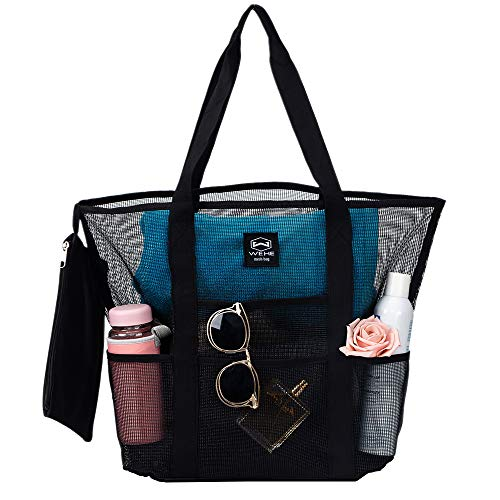 Beach Bag, 7 Oversized Pockets Large Tote Mesh Bag Include Zipper Bag, Womens Travel Summer Towel Hats Toy Bag ()