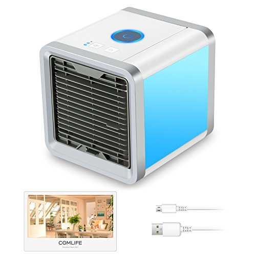 COMLIFE Portable Air Conditioner, 4 in 1 Mini USB Personal Space Air Cooler, Humidifier and Purifier, Desktop Cooling Fan with 3 Speeds and 7 Colors LED Night Light for Office Home Outdoor Travel