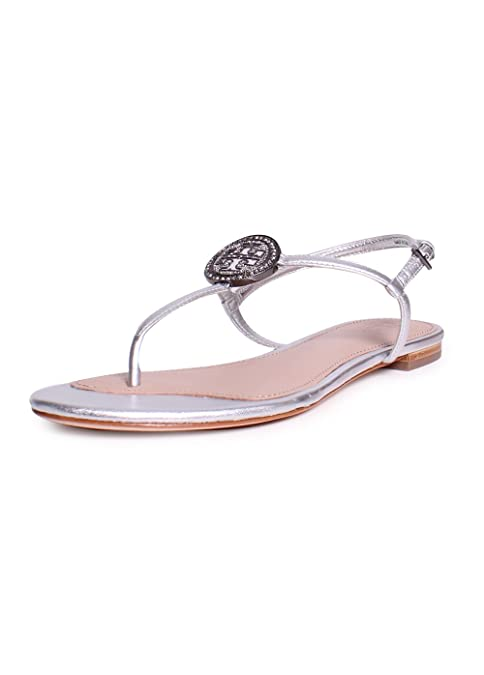 d8bd4d723b0 Tory Burch Liana Metallic Leather Flat Sandals in Silver Size 9.5 ...