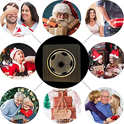 Christmas Present Natural Wooden Football Night Lamp for Kids, Acrylic Baby Table Lamp for Breast-Feeding with 3D Illusion, Perfect Birthday Gift USB Line Safety Desk Lamp Decoration Light