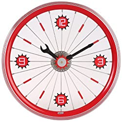 Maple's 16-Inch Aluminum Bicycle Wheel Wall Clock, Red