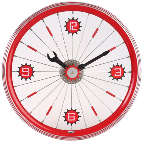Maple's 16-Inch Aluminum Bicycle Wheel Wall Clock, Red For Sale