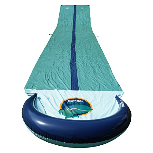 (TEAM MAGNUS Water Slide for Garden Play: 31 Foot Slip and Slide for Races with Heavy-Duty Inflatable Crash pad)