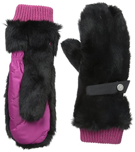 Spyder Women's Faux Fur Trimmed Nylon Mitten, Wild/Black Fur, One Size