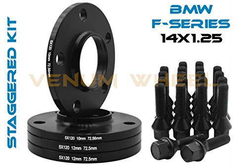 (4 Pc 10mm & 12mm Staggered Bmw Black Hub Centric Wheel Spacers 5x120-72.56 H.B - F30 F31 320 328 335 F80 M3 F32 F82 M4 435 F22 F23 228 235 F10 528 535 M5 F11)