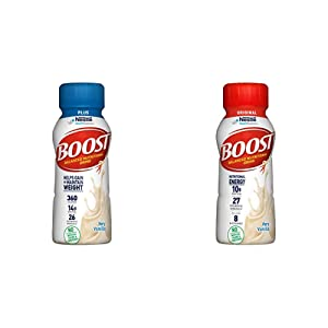 BOOST Plus Complete Nutritional Drink, Very Vanilla, 8 Ounce Bottle (Pack of 24) & Boost Original Complete Nutritional Drink, Very Vanilla, 8 Fl Oz Bottle, 24 Count