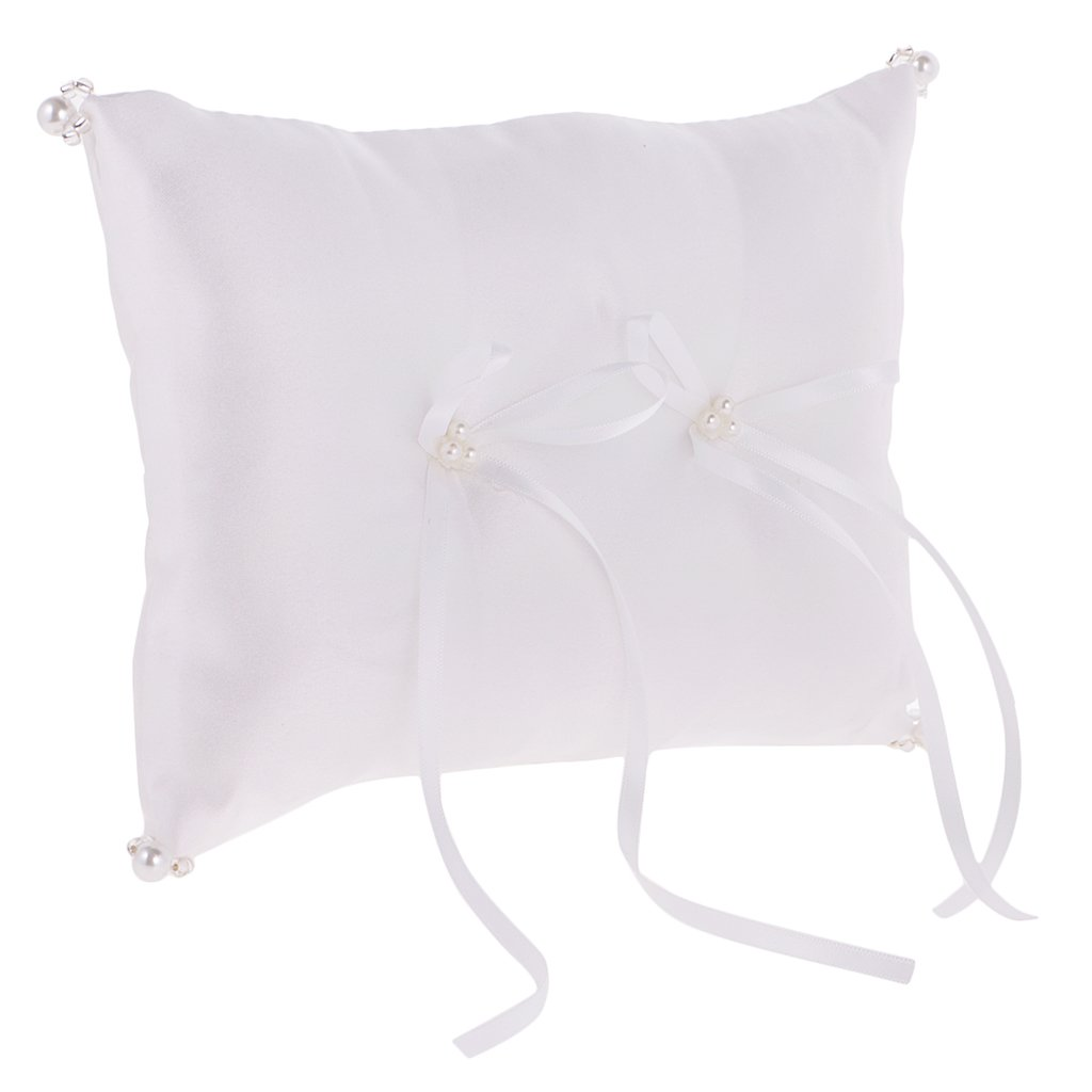 Jili Online Wedding Party Ring Bearer Pillow Ring Cushion White Pearl Flower Decoration by Jili Online