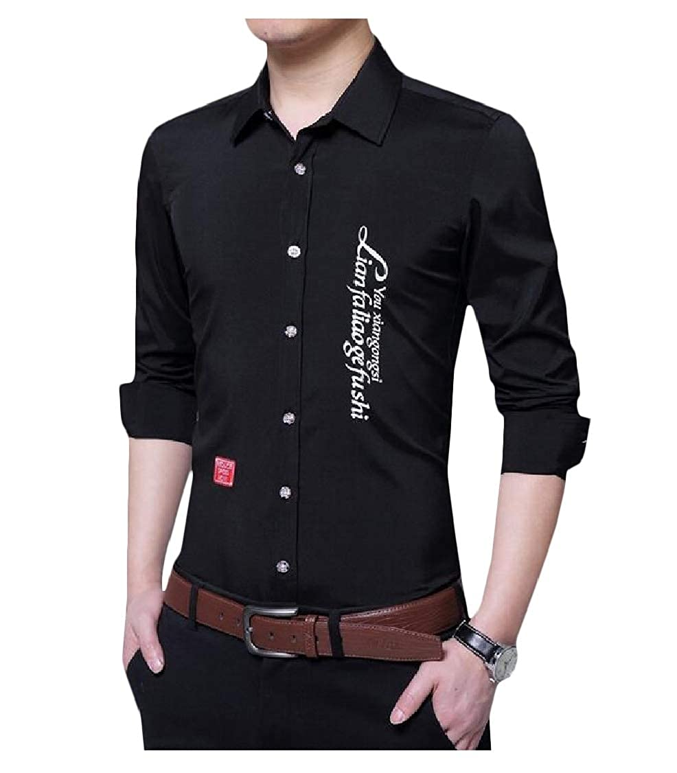 pipigo Mens Top Slim Button-Down Long-Sleeve Solid Color Shirts