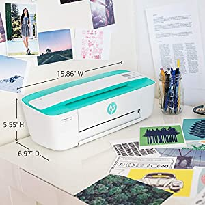 HP DeskJet 3755 Compact All-in-One Wireless Printer, HP Instant Ink & Amazon Dash Replenishment ready – Seagrass Accent (J9V92A)