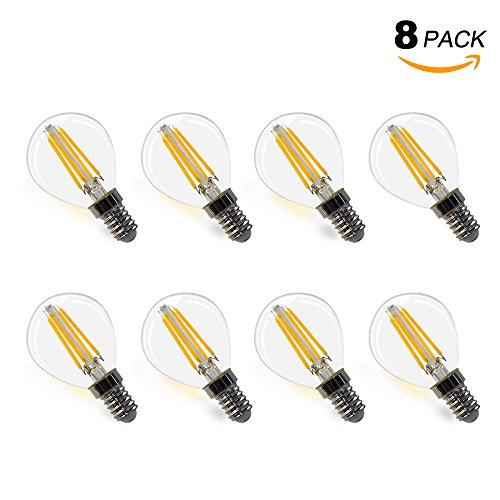 G45 Lampe Ampoule Globe a Filament LED E14 4W Verre Transparent Éclairage Blanc Chaud Remplace Ampoule a Incandescence 40W Lot de 8 de Enuotek