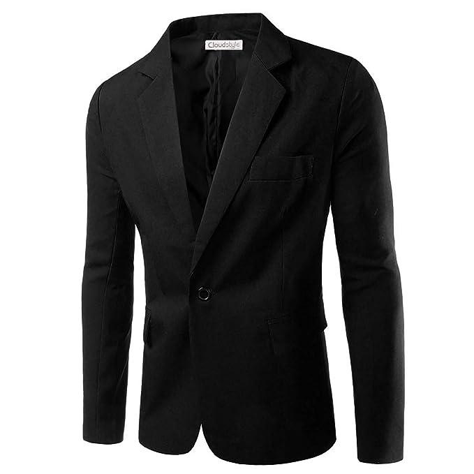 Chaquetas de Traje Casual para Hombre Chaqueta Slim Fit Trajes de un botón Abrigo Chaqueta Casual sólida Tops