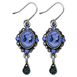 Cute Small Dark Navy Blue Teardrop Cameo Hoop Dangle Earrings Fashion Jewelry