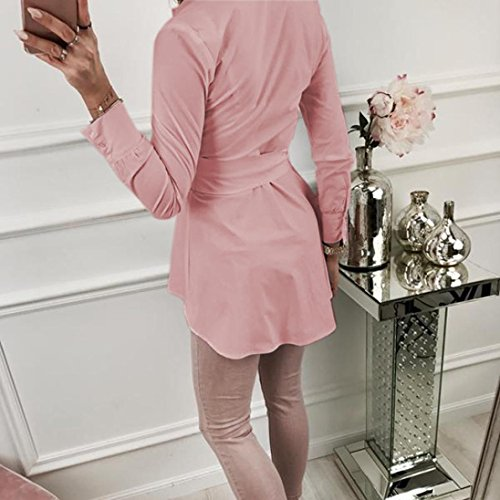 N CeintureTunique Blouse ud T Avant Manche Shirt Rose Chemise Fluide Femme Bringbring Top Longue Chemisier qaz4wx0U