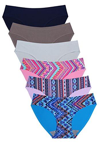 Wealurre Seamless Underwear Invisible Bikini No Show Nylon Spandex Women Panties (G/Color,S)
