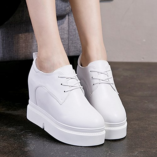 GIY Womens High Top Increased Height Platform Athletic Sneakers - Round Toe Hidden Heel Wedge Boot Shoes White eyMRC