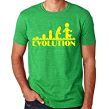 Crazy Happy Tees Men's Evolution of Lego Funny T-Shirt Green