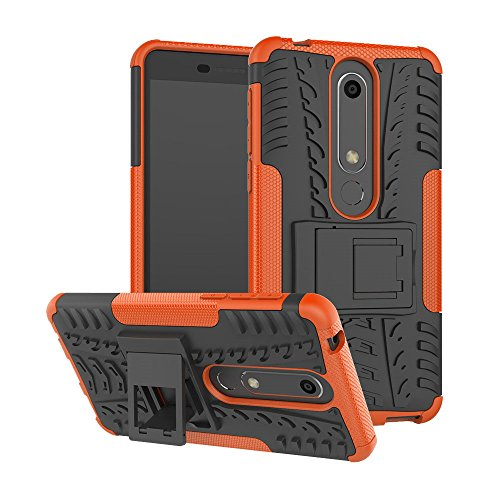 Nokia Phone Stylus (Nokia 6.1 Case, Moment Dextrad [Built-in Kickstand] [Non-Slip Design] Dual Layer Hybrid [Shock Proof] Protection Cover for Nokia 6.1 (Nokia 6 2018) + Stylus (Orange))