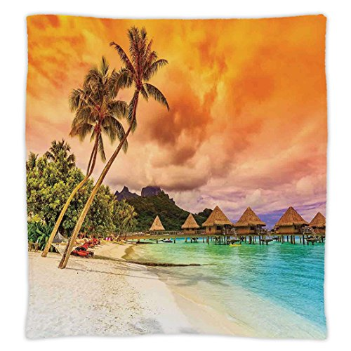Golden Orange Tree - iPrint Super Soft Throw Blanket Custom Design Cozy Fleece Blanket,Beach,Mountain Beach and Palm Trees Golden Clouds at Sunset Romantic View Image,Orange Turquoise Ivory,Perfect for Couch Sofa or Bed