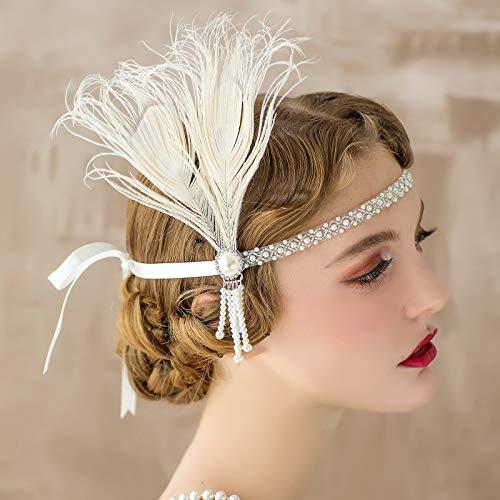 SWEETV Flapper Headbands 1920s Womens Peacock Headband Great Gatsby Inspired Crystal Headband for Bride Feather Headband, Onesize, Ivory