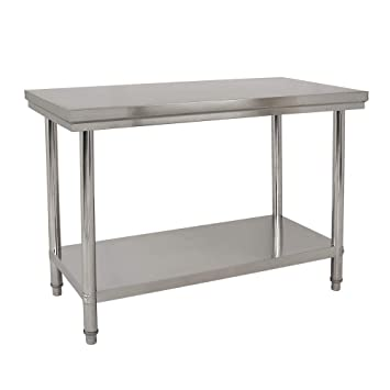 Wido STAINLESS STEEL CATERING TABLE 2FT X 4FT BENCH KITCHEN WORKTOP COMMERCIAL