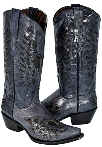 Texas Legacy Womens Denim Blue Heart & Wings Overlay Leather Cowboy Boots Snip Toe 9 BM