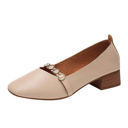 Zapatos de Tacón Ancho Altas de Cuero Plano Chic para Mujer Otoño 2018 Moda PAOLIAN Zapatos de Señora Merceditas Casual Fiesta Calzado Dama Cómodos Cuña ...