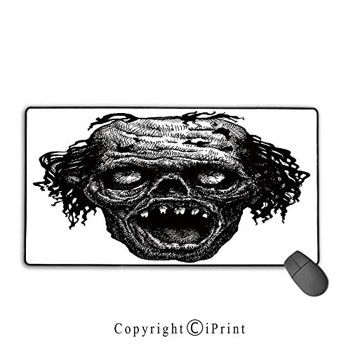 Mouse pad with Lock,Halloween,Zombie Head Evil Dead Man Portrait Fiction Creature Scary Monster Graphic,Black Dark Grey,Ideal for Desk Cover, Computer Keyboard, PC and Laptop,15.8