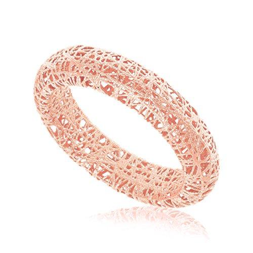 Mia Diamonds 14k Rose Gold Wire Mesh Tube Style Ring