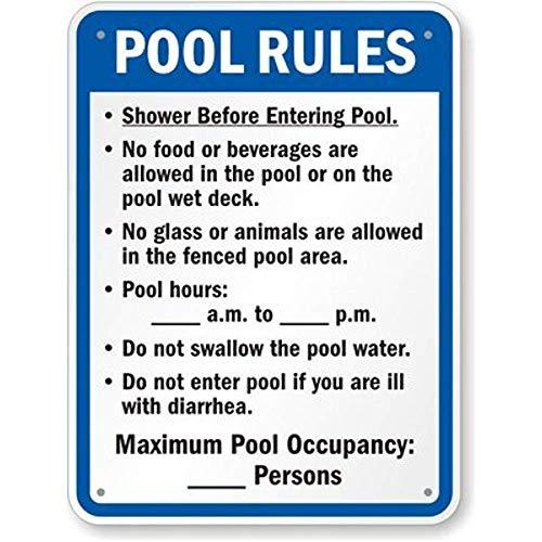 Joycenie New Aluminum Metal Sign Road Sign Florida Pool Rules Sign 8x12 Inch