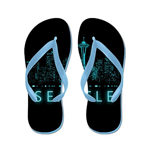 CafePress Digital Cityscape: Seattle, Washington - Flip Flops, Funny Thong Sandals, Beach Sandals Caribbean Blue