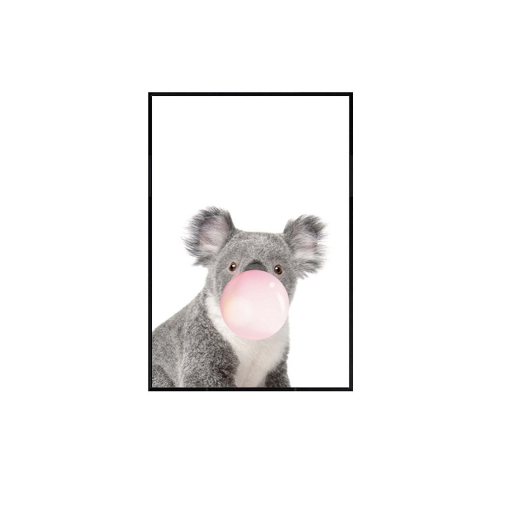 Quedom Canvas Print Wall Art Painting for Children Room with Black Frame Decorative Artwork Animal Series_The Koala Blowing Bubble Gum_Grey and White_12'' x 16''