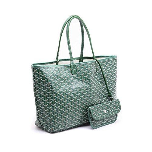 Shopping Handbag for Women Large Capacity Shoulder Bag two-piece Purse Top-Handle Handbag Tote(Green)