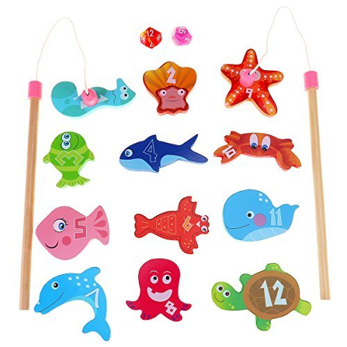 BESTOYARD Fishing Game with 12 Different Wooden Magnetic Fish and 2 Poles for Kids