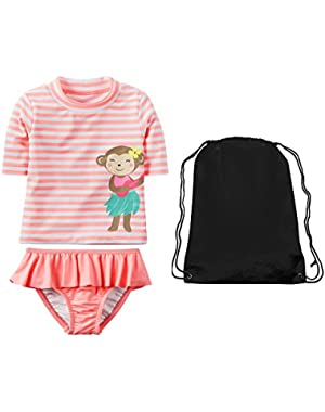 Girls Short Sleeve Rash Guard Shirt Ruffle Skirted Bottom and Swim Bag