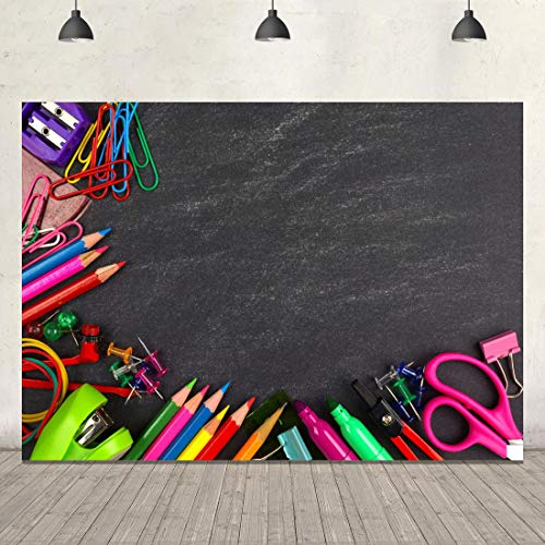 (Back to School Photo Backdrop Classroom Blackboard Photography Background 7x5ft Vinyl Pencils Stationery Themed School Backdrop Banner Baby Kids Children Party Decoration Photo Studio Booth Props)