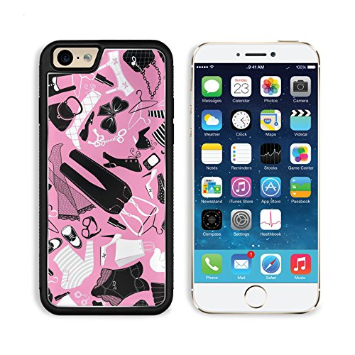 Liili Premium Apple iPhone 6 iPhone 6S Aluminum Backplate Bumper Snap Case iPhone6 ID: 26575814 Seamless pattern for fashion Design Silhouettes of glamor clothes and accessories Black and white (2)