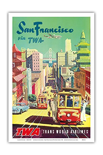 Pacifica Island Art San Francisco California - Trans World Airlines TWA - Vintage Airline Travel Poster by David Klein c.1950s - Master Art Print - 12in x 18in by Pacifica Island Art