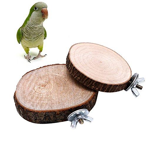 51vhcixQ2dL - Itemap Pet Parrot Bird Round Wooden Coin Platform Chew Toy for Birdcage Accessories