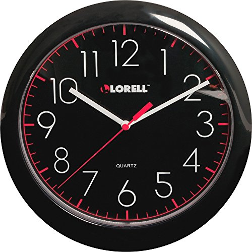 Lorell 60995 Wall Clock, 10, Arabic Numerals, Black Frame/Face