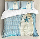 Ambesonne Nautical Decor Duvet Cover Set, Sea Objects on Wooden with Vintage Boat Starfish Shell Fishing Net Photo, 3 Piece Bedding Set with Pillow Shams, Queen/Full, Blue White