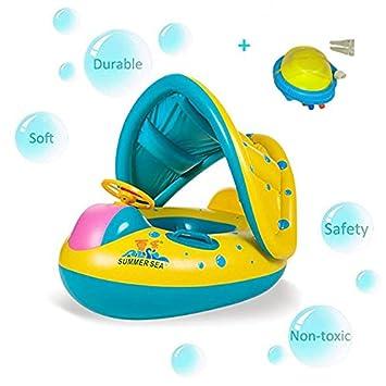 Emsems Piscina Barco PVC Baby Float con Ajustable sombrilla Resistente Asas y Bomba de Aire Safty para Edad 6 - 36 Meses Niños Pequeños Niños: Amazon.es: ...