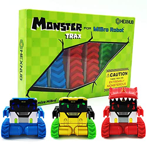 Hexnub Monster Trax for Mibro Really Rad Robot Kids Toy Accessory Extra Large Tread All Terrain Tracks 3 Awesome Colors Fits Mibro Original, Gold and Dino Remote Controlled RC Robots Toys