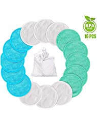 Makeup Remover Pads Reusable 16 Packs Bamboo Facial Toner Pads Cleansing Wipe Cloth Chemical Free With Laundry Bag, ProCIV Washable Clean Skin Care Round Pads Cleansing Towel Wipes 3 Color (3.15 inch)