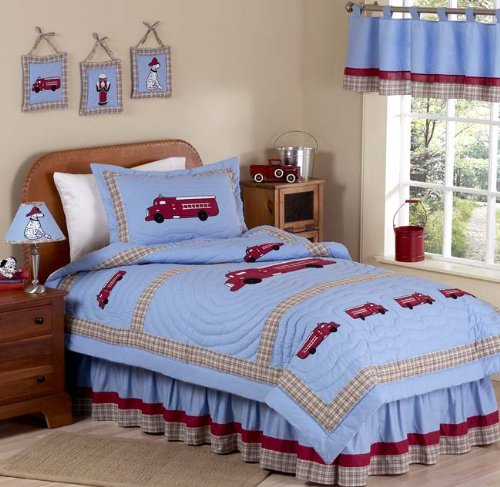 Frankie's Firetruck 3 Piece Queen Bedding Set by Sweet Sweet