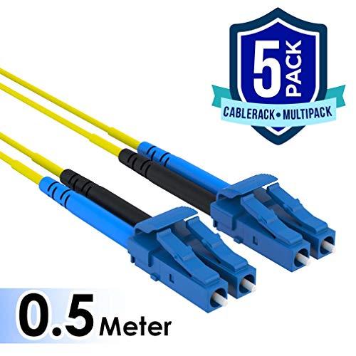 Duplex Fiber Single - CableRack 0.5 Meter LC to LC Single Mode Fiber 9/125 Fiber Patch Cable (5-Pack)
