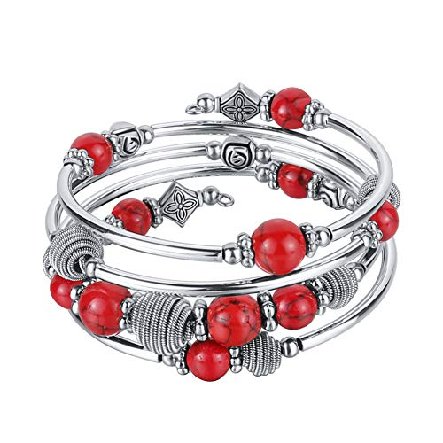 (Pearl&Club Beaded Chakra Bangle Turquoise Bracelet - Fashion Jewelry Wrap Bracelet with Thick Silver Metal and Mala Beads, Birthday Gifts for Women (Red))