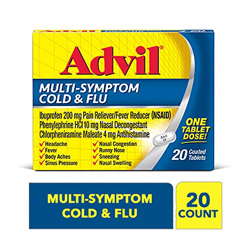 Advil Multi-Symptom Cold & Flu, 200mg Ibuprofen, Pain & Fever Reducer, (20Count), Nasal Decongestant, Fast Relief for Nasal Congestion, Headache, Runny Nose, Sneezing, Body Aches & Sinus Pressu (Non Drowsy Cold Medicine For Runny Nose)