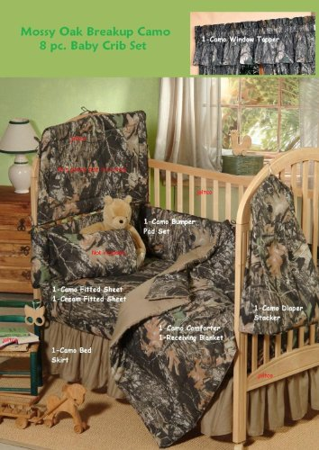 Mossy Oak Camo 8 Pc Baby Crib Set - Nursery Gift Set Save By Bundling! - Oak Baby Cribs