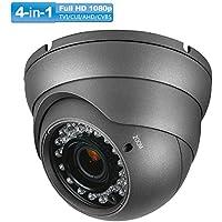 Security Dome Camera, Savvypixel HD 1080P 2.0MP 4-in-1 AHD/CVI/TVI/CVBS Security Cameras, 2.8-12mm Varifocal Lens Waterproof Outdoor Surveillance Camera